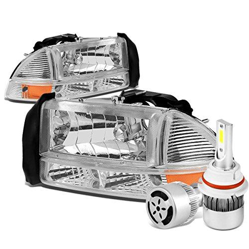 Dodge Dakota Headlight Corner Park (Dodge Dakota / Durago 4Pc Pair of Chrome Housing Amber Corner Headlight + 9007 LED Conversion Kit W/ Fan)