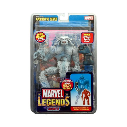 Marvel Legends Year 2005 Apocalypse Series 9 Inch Tall Action Figure - Variant White SASQUATCH with Super Poseable 42 Points of Articulation, Right Arm of Apocalypse Plus Bonus 32 Page Comic