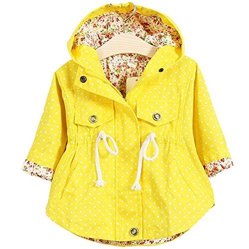 Kids Little Girls Spring Autumn Winter Baby Coat Jackets Hoodies (2-3T, Yellow)