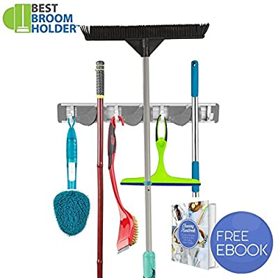 "Wall Mounted Non Slide Mop Broom Holder and Rake Garden Tool Organizer with 4 Hooks and 3 Position Up to 1.25"" Handle 