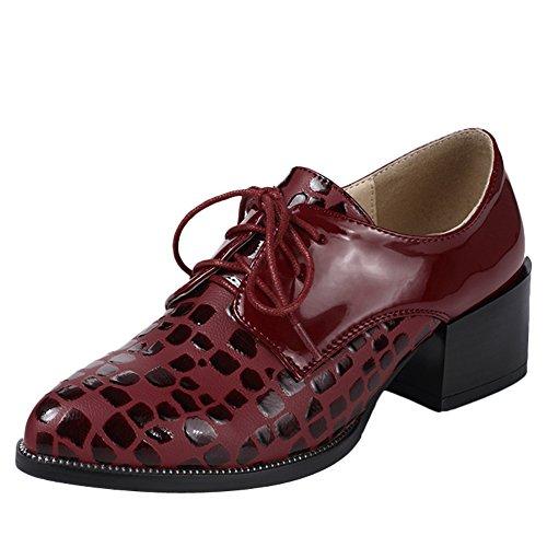 Latasa Dames Midden Hak Veter Oxford Schoenen Claret-rood
