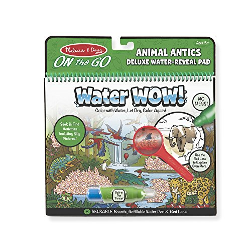 Melissa & Doug On the Go Water Wow! Reusable Water-Reveal Deluxe Activity Pad – Animal Antics -