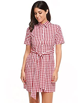 Plaids Shirt Dress, Zeagoo Womens Short Sleeve Single Breasted Tie Front Checkered Shirt Dress