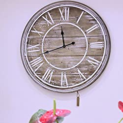80cm Large Wooden Vintage Wall Clock Shabby Chic