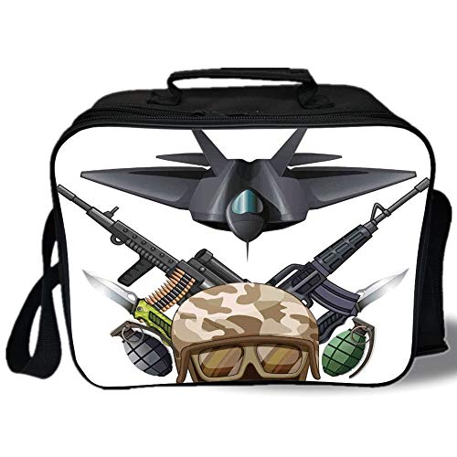- Insulated Lunch Bag,War Home Decor,Weapons and Jet Figure Helmet Rifles Knifes Bombs Bullets Ammunition Print,Black Green,for Work/School/Picnic, Grey