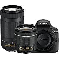 Nikon D3400-24.2 MP SLR Camera Black AF-P 18-55mm f/3.5-5.6 G VR Lens, Black + Nikon AF-P DX NIKKOR 70-300mm f/4.5-6.3G ED Lens Bundle Offer