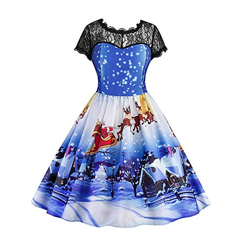 PASATO Women Ladies Fashion Lace Short Sleeve Christmas Snow Print Vintage Swing Dress New Party Skirt Clearance Sale(Blue,XL=US:L) -