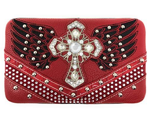 Angel Cruzado Premium Con Colores A Hombro Rhinestone Wings Western De Studded En Juego Varios Red Bolso Billetera r88wqtz