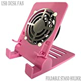 laptop cooler pink - Desk USB Fan Air Circulator Fan USB Table Desk Portable Fan,Small Personal USB Fan Smartphones Stand Holder Cell Phone Stand Holder Cooling Cooler Fan Cooling Pad Radiator Foldable Stand Holder(Pink)
