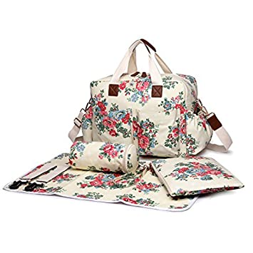 05815a56a3337 Amazon.com : Miss Lulu 4 PCS Baby Nappy Diaper Changing Bag Set Large  Flower Pattern Tote Handbag (1501F Beige) : Baby