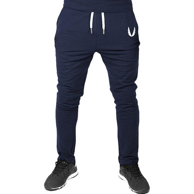 Pantalón Deportivo Pantalones Hombre Casuales Jogger Hip Hop Estilo Urbano Chándal de Hombres con Cinturón Elástico