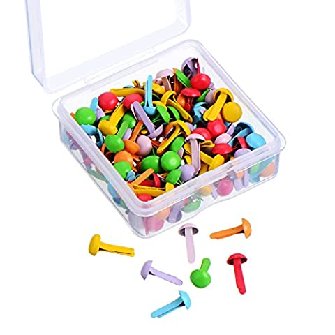 Willbond 150 Pieces Mini Brads Assorted Colors Round Brad Pastel Brads with Platic Storage Box for Scrapbooking Crafts Making Stamping and - Gold Silver Brads