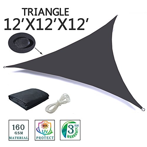 SUNNY GUARD 12′ x 12′ x 12′ Charcoal Triangle Waterproof Sun Shade Sail UV Blo ...
