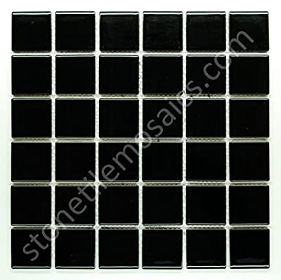 "Vogue Premium Quality 2"" Black Porcelain Square Mosaic Tile Shiny Look Designed In Italy (12x12)"