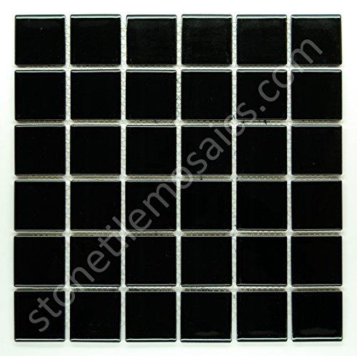 Vogue Premium Quality 2 Black Porcelain Square Mosaic Tile Shiny Look Designed In Italy 12x12