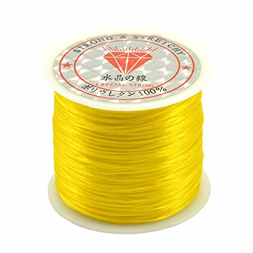 jennysun2010 Citrine 1 Reel Strong Stretchy Elastic String Cord Thread For Diy Bracelet Necklace Jewelry (0.5mm thick,50 Meter Each Reel Roll)
