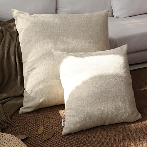 """Kevin Textile Decor Lined Linen Pillow Cover Burlap Square Throw Cushion Covers Case Euro Pillow Case Sham for Couch, 26""""x26""""(1 Pack, Natural Linen)"""
