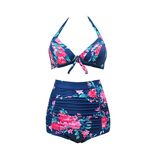 JOYMODE Retro 50s Vintage High Waist Bikini Swimsuit Swimwear(FBA) Size S Navy Floral Tankini