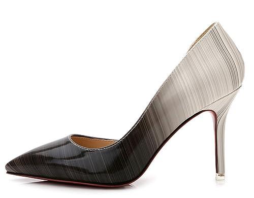 d38f3891993 Aisun Women's Hot Gradient Patent Leather Low Cut Pointy Toe Dress Slip On  Pumps Party Stiletto High Heels Shoes