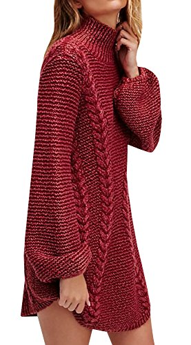 Jeanewpole1 Womens Sweater Dresses Chunky Turtleneck Long Sleeve Cable Knit Warm Winter Pullover Sweater Wine Red Chunky Knit Sweater Dress