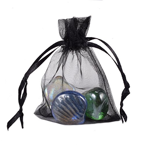 100pcs 2.75x3.54 Inch (7x9cm) Organza Jewelry Candy Mixed Color Mini Drawstring Gift Pouch Bags (Black)