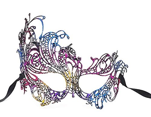 Flywife Lace Masquerade Ball Mask Venetian Swan Mardi Gras Halloween Costume Party Mask (A Rainbow Swan) -
