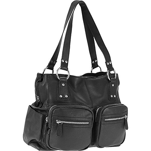 r-r-collections-genuine-leather-triple-compartment-tote-black