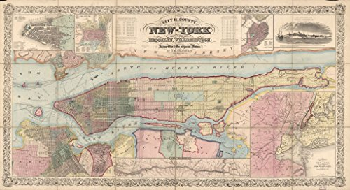 Old Vintage City Maps (32 x 24 Reprinted Old Vintage Antique Map of: c.1857 City & county map of New-York : Brooklyn, Williamsburgh, Jersey City & the adjacent waters m5082)