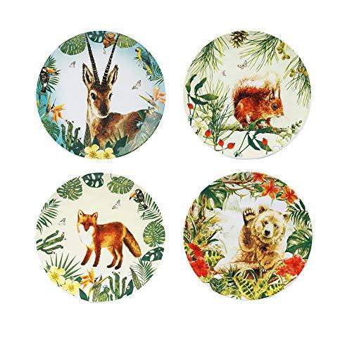 Ceramic Diameter Round Plates, Salads/Dessert Forest Animal Plates Set of 4(8.5Inch) (Ceramic Animals Large)
