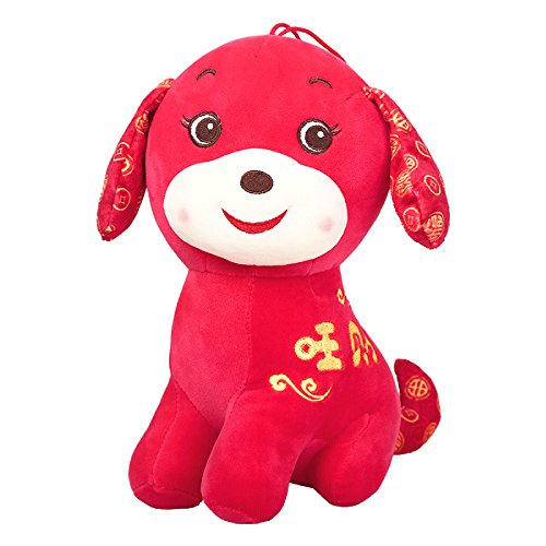 Chinese New Year Decorations - Year of The Dog Festival Decoration Plush Puppy Good Luck Toys Red 10
