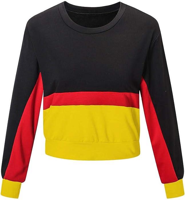 Vectry Sudadera Corta para Mujer Sudadera Lisa con Manga Larga Camiseta Deportiva con Manga Larga para Fiesta Moda
