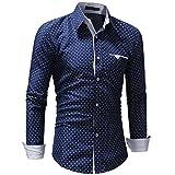 OWMEOTMens Casual Slim Fit Basic Dress Shirts (Blue, 2XL)