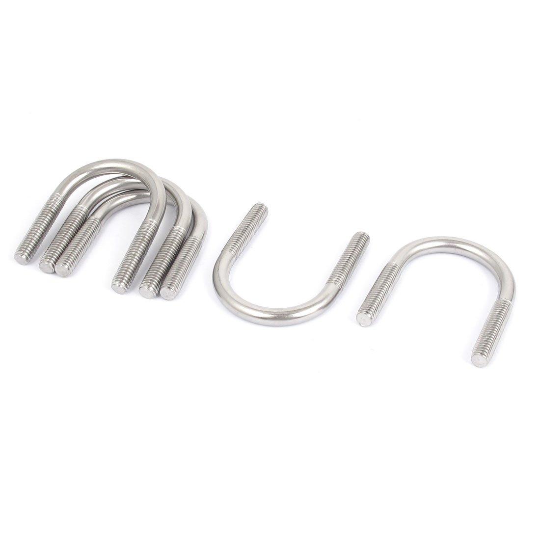 sourcingmap® M6 304 de acero inoxidable curva redonda U-Tornillo fijador 5pcs de 27mm de diámetro del tubo a15112300ux0718