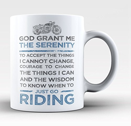 Motorcycle Serenity - Extreme Sports Biker Motocross BMX 11-oz Coffee Mug Cup White Ceramic with Large Handle is Perfect Gift Idea For Dad, Fathers Day, Mothers, PaPa Mom, Sons, Coworkers ()