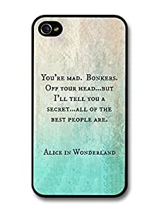 fashion case Alice in Wonderland You're Mad Cheshire Cat Book Quote case for iphone 5c