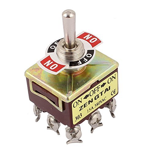 AC 380V 10A 9 Pin Terminals 3 Positions ON/OFF/ON 3PDT Toggle Switch DealMux DLM-B0167X41RG