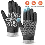 Pvendor Winter Gloves Touch Screen Warm Knit Gloves, Soft Wool Lining Elastic Cuff, Anti-Slip Rubber Design Warm Gloves for Men Women(Gray, Onesize)