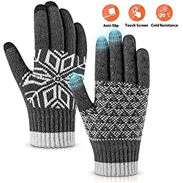Pvendor Winter Gloves Touch Screen Warm Knit Gloves, Soft Wool Lining Elastic Cuff, Anti-Slip Rubber