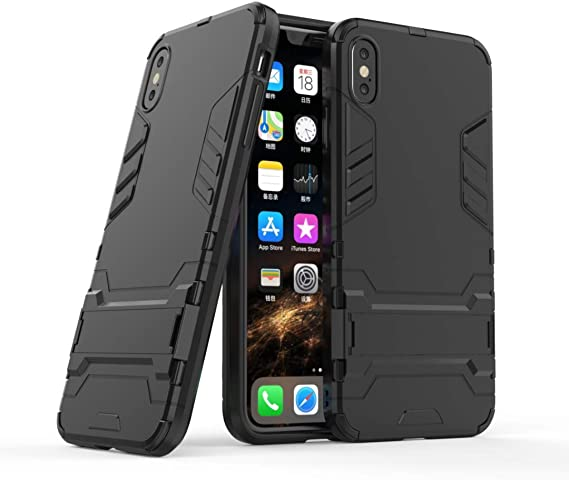 Folice for iPhone Xs Max Case, [2 in 1 Series] Dual Layer Hybrid Hard Back Case Cover with Kickstand for Apple iPhone Xs Max 6.5 inch (2018 Release) (Black)