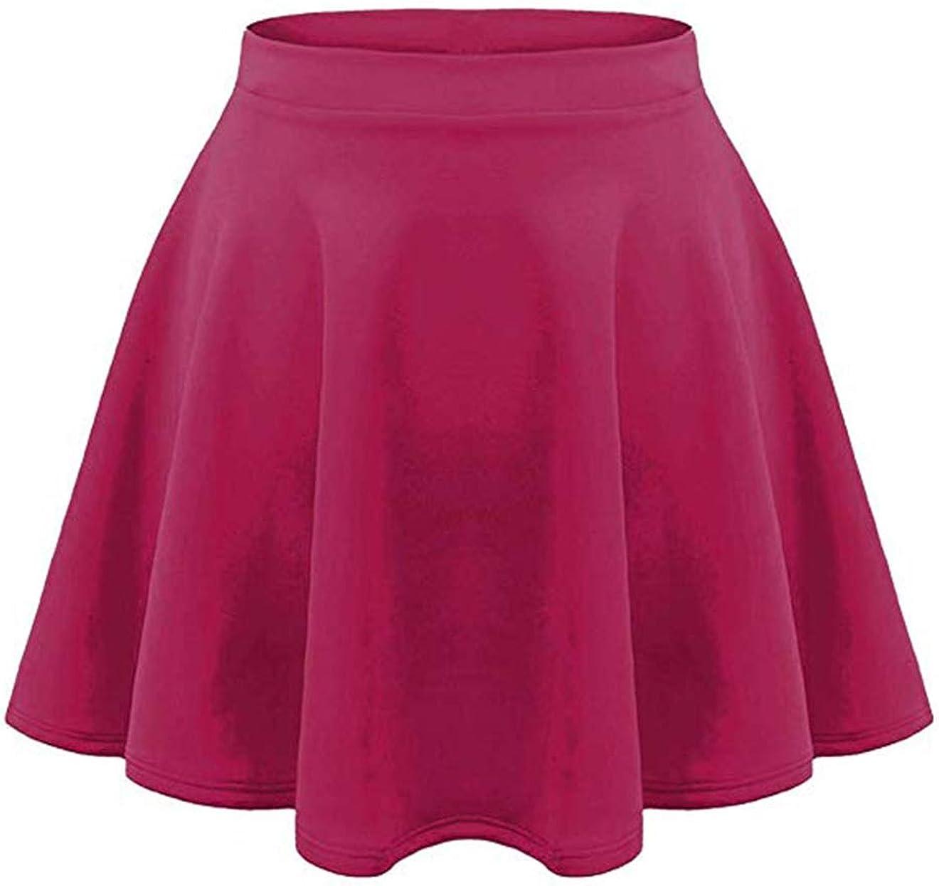 Loxdonz Girls Kids Casual Mini Stretch Waist Flared Plain Pleated Skater Skirt