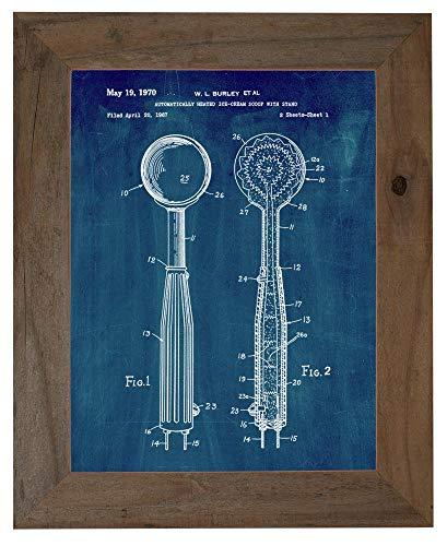 Ice-Cream Scoop Patent Art Midnight Blue Print in a Barnwood Frame (8.5