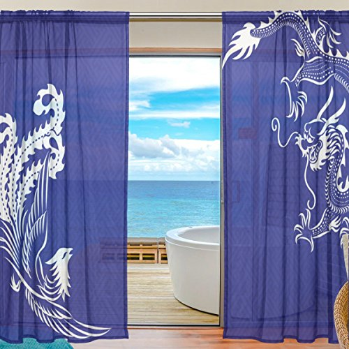 JIUMEI Sheer Door Curtain Panels 55 Inch Wide x 84 Inch Length,Chinese Dragon and Phoenix Bird Blue White Window Curtains Voile Sheers 2 Panels Set Polyester ()