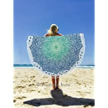 """New Launched"" Ombre Round Lotus Flowers Mandala Tassel Fringe Beach Throw Yoga Mat, Mandala Throw, Beach Blanket Meditation Yoga Mat, Circle Round Towel, 50"" By Traditional India"