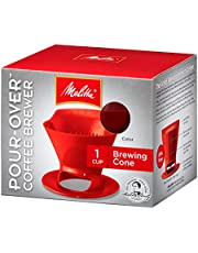 Melitta 640820 Heritage Series 1-cup Red Plastic Pour-Over cone Coffee Maker, Red