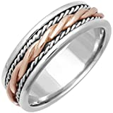 14K Two Tone Gold Braided Rope Edge Men's Comfort Fit Wedding Band (7mm)