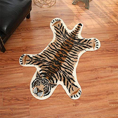 Tiger Print Rug, 2.7 x 3.5 Feet Faux Fur Cowhide Skin Rug Animal Printed Area Rug Carpet for Decorating Kids Room, Under Coffee Table, Cowboy-Themed Nursery, Jungle Themed Room, Playroom