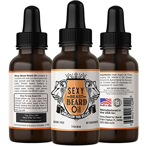 #1 BEST Beard Oil For Men - Proprietary 9 Oil Blend Stimulates Facial Hair + Beard & Mustache Growth + Repairs Frizzy Hair + Eliminates Dry Itchy Skin For A Thicker Fuller Sexy Beard - Unscented