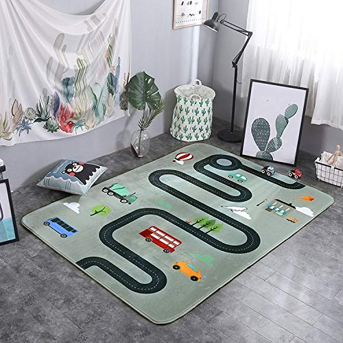 nobrand ZLEG E Car Track Pattern Rectangular Polyester Anti-Skid Household Carpet Yoga Mat, Size: 200cm x 150cm