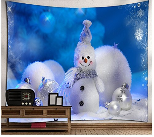 WSHINEIE Bohemian Tapestry Christmas Snowman Beads Wall Tapestries Home Decortion Kids Room Decor Blue Blanket (Tapestry Wall Snowman)