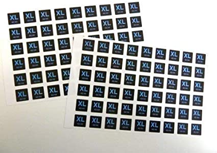 Mens Clothes Size Stickers Size Xl 42 44 Blue On Black 16x16mm Square Self Adhesive Clothing Labels Amazon Co Uk Office Products